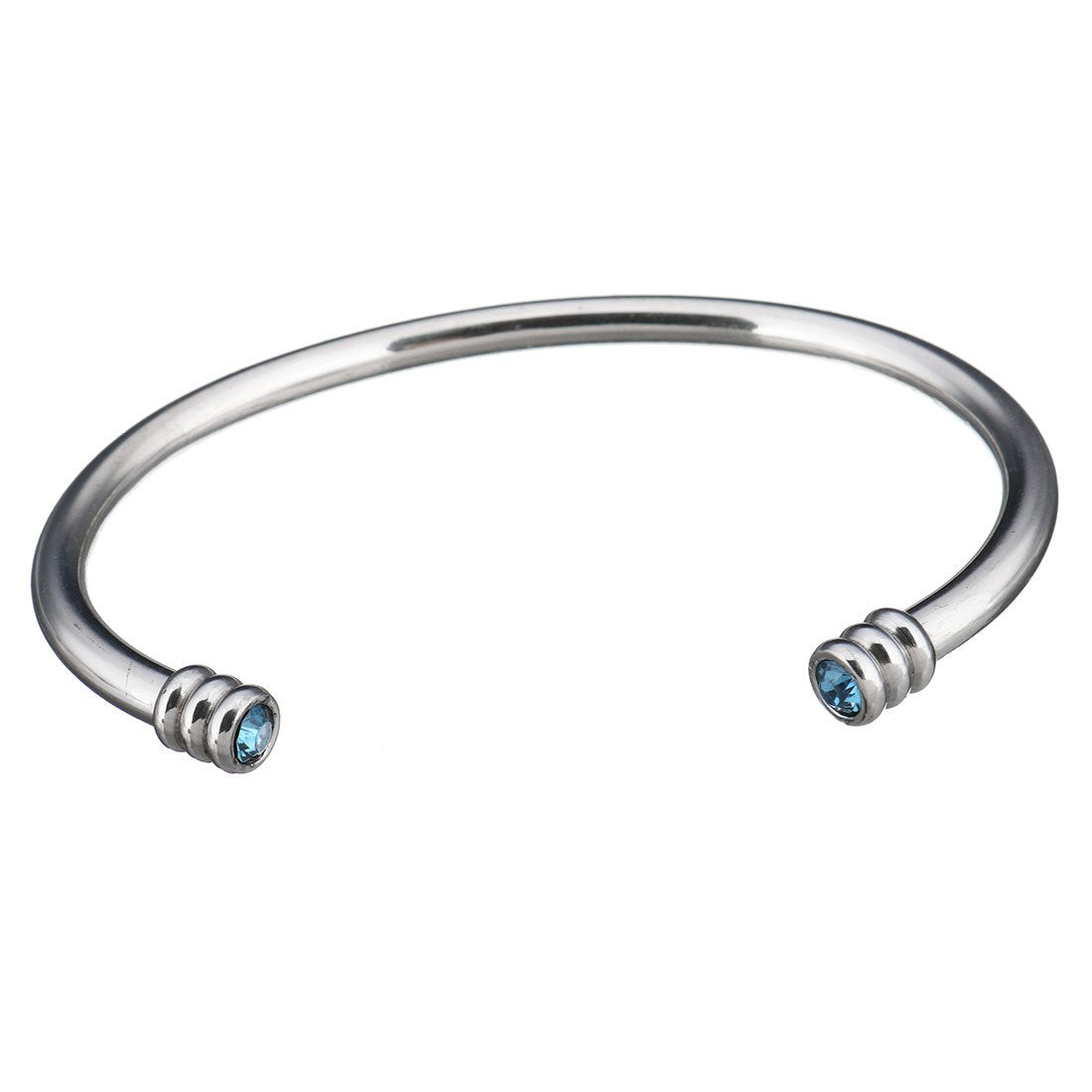 Silver And Blue Quartz Open Cuff Bangle
