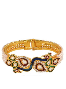 18K Gold Multi Enamel Pearl & Ziconia Peacock Bangle