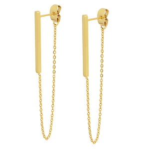 18k Gold Chain Long Drop Earrings