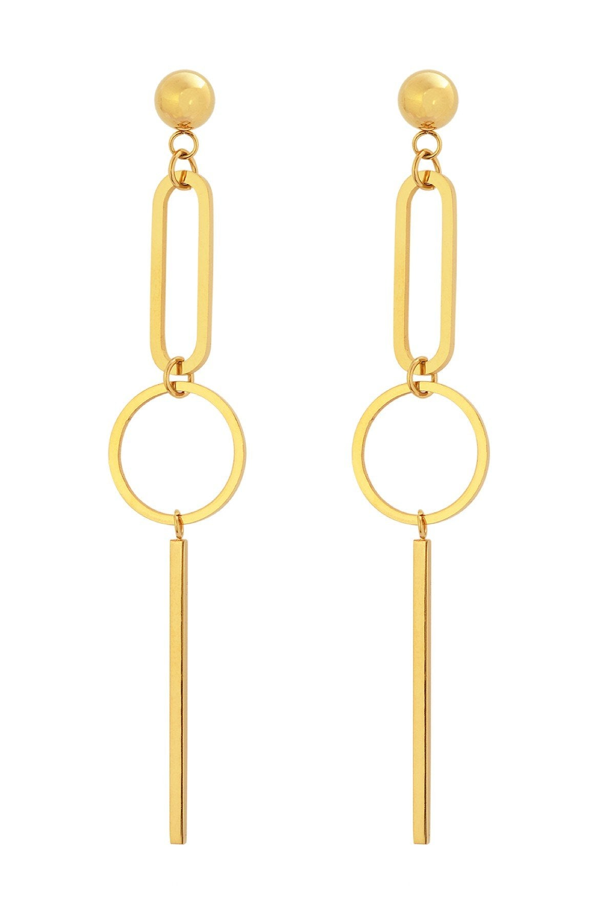 18K Gold Geometric Long Earrings