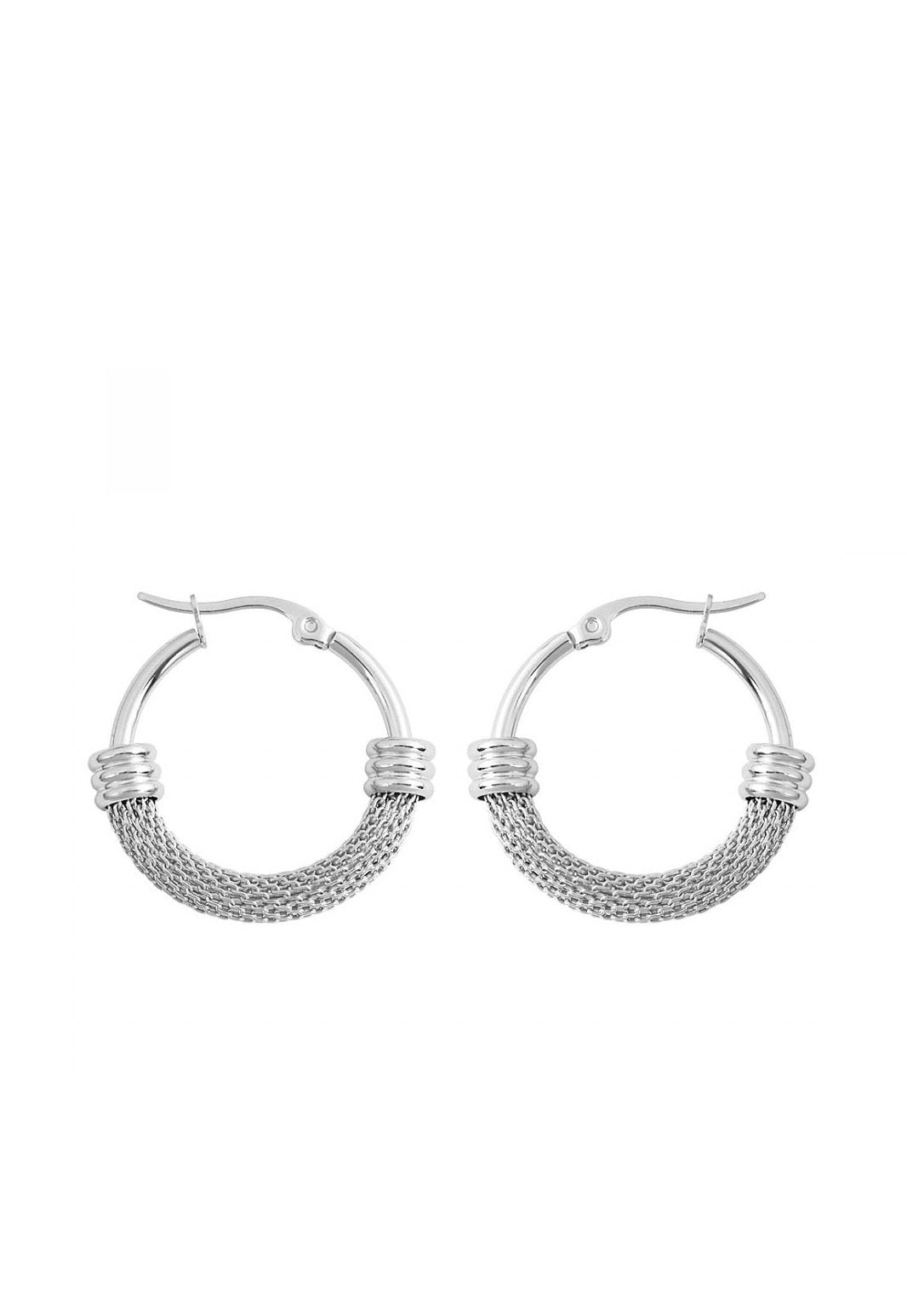 Silver Mesh And Polished Hoop Earrings