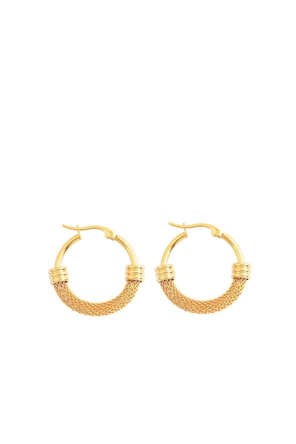 18K Gold Mesh And Polished Hoop Earrings