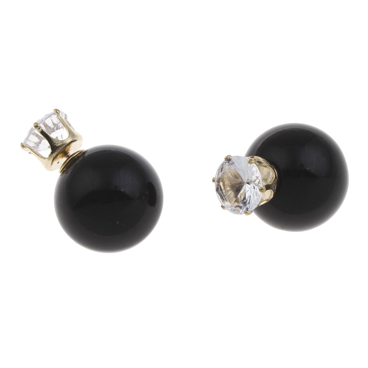 18K Gold Onyx & Cz Double Sided Earrings