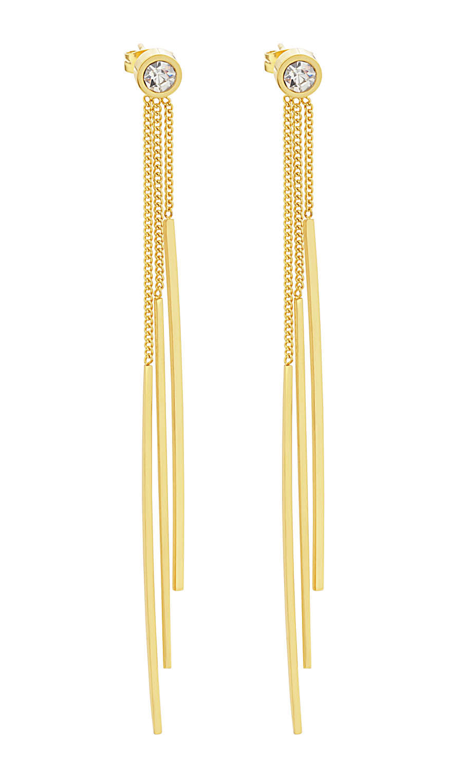 18K Gold Plated Multi Chain Long Earrings