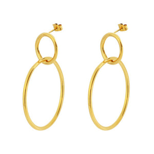 18k Gold Double Link Earrings