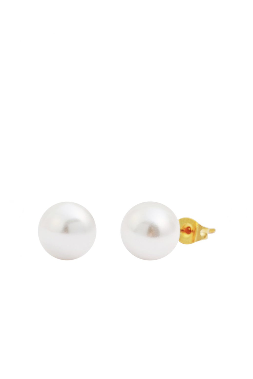 18K Gold Pearl Stud Earrings