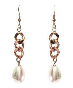 18K Rose Gold Chain Link Pearl Drop Earrings