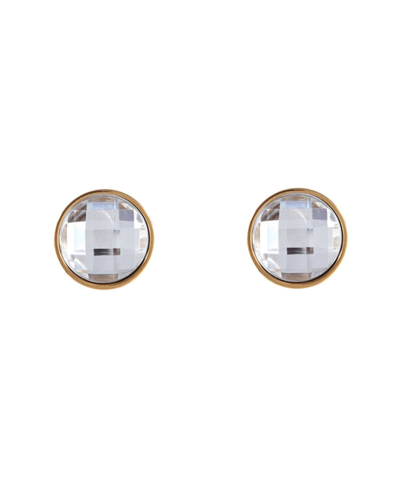 18k Gold Plated Crystal Disc Stud Earrings
