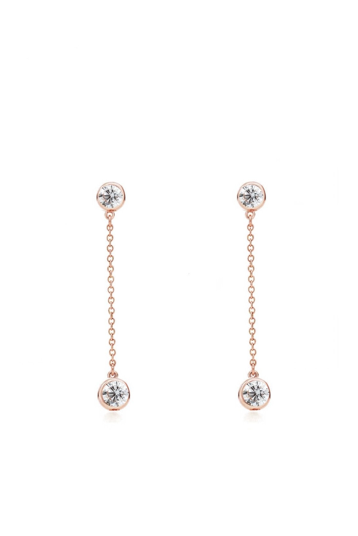 Rose Gold Cubic Zirconia Stone Drop Earrings