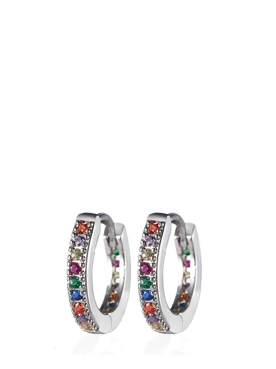 Silver Multi Color Huggie Earrings