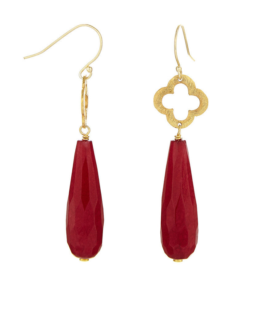 18k Gold Plated Red Tear Drop & Clover Earrings
