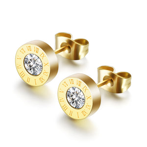 18k Gold Cz Stud Post Earrings