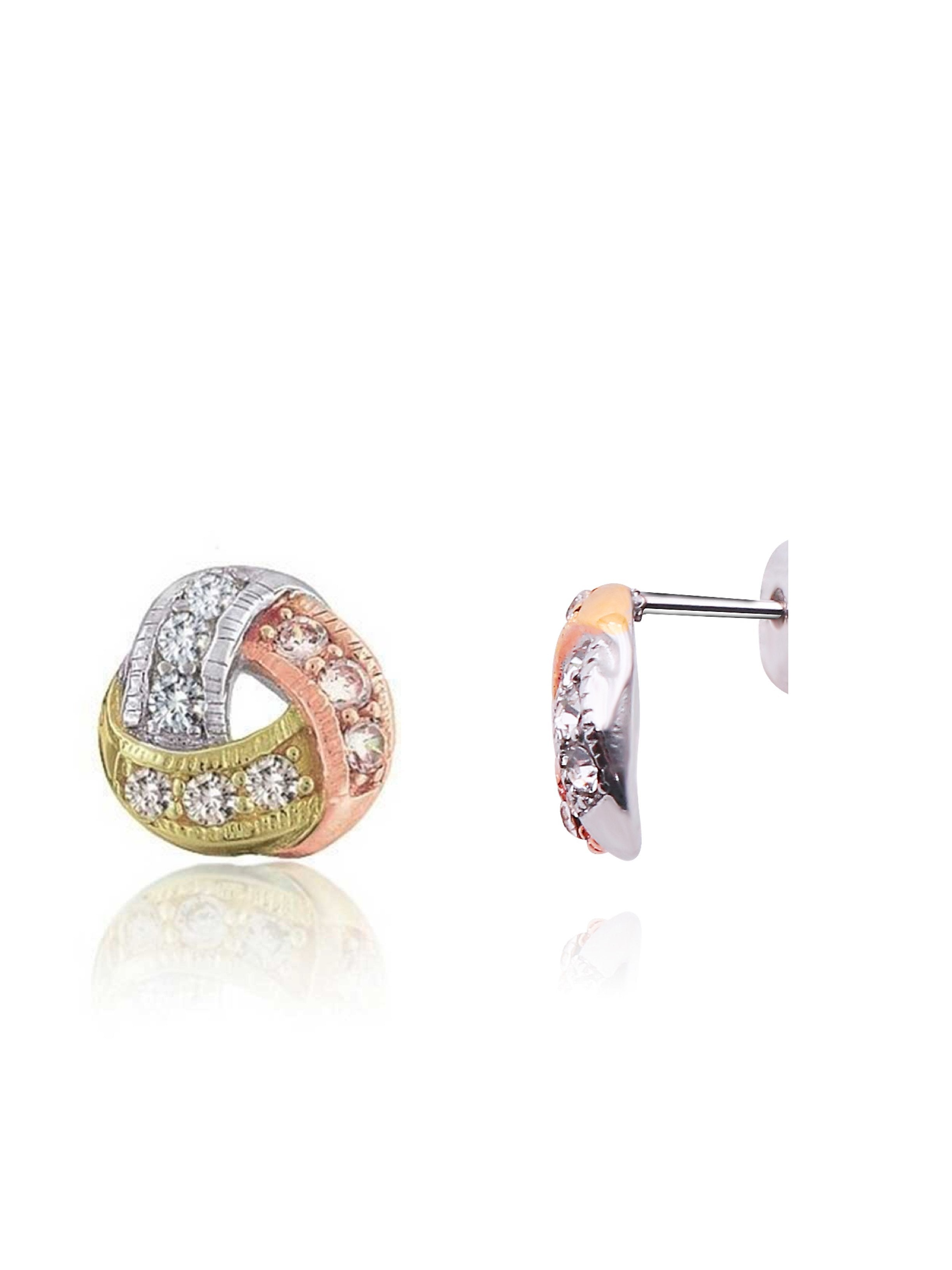 18K Tri Color Knot Stud Earrings