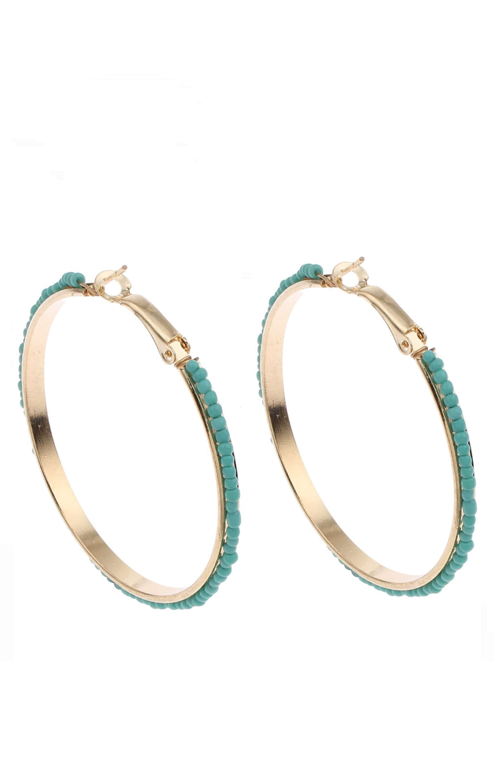 18K Gold Turquoise Bead Hoop Earrings