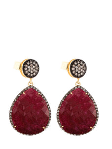 18K Ruby & Multi Diamond Pear Drop Earrings