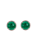 18K Gold Emerald & Multi Diamond Halo Stud Earrings