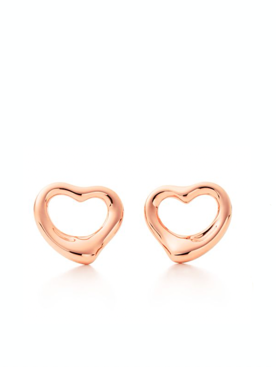 18k Rose Gold Open Heart Love Earrings