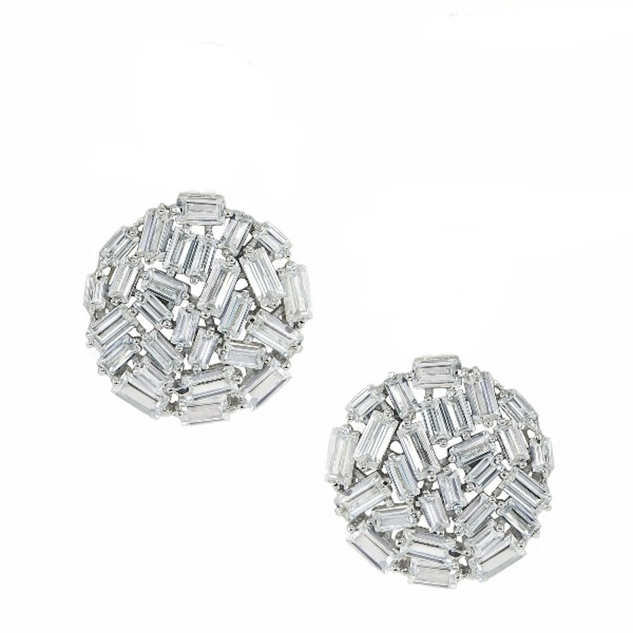 Sterling Silver Multi Cz Disc Stud Earrings