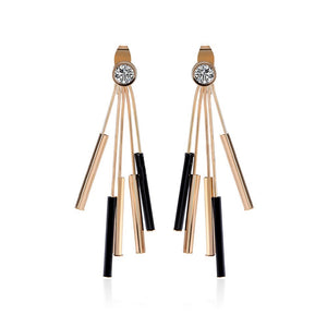 18k Gold Cz & Onyx Fringe Earrings