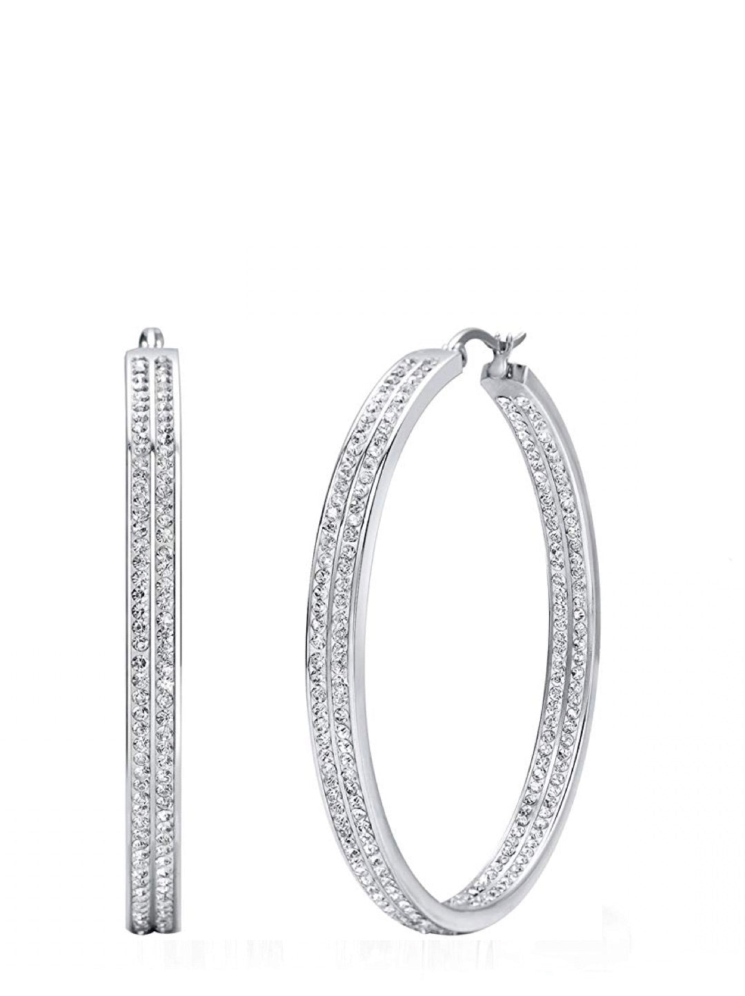 Silver Crystal Inside Out Hoop Earrings