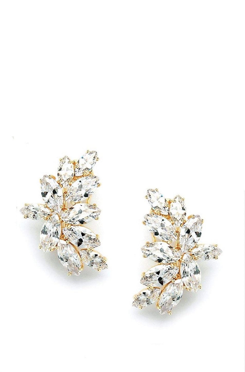 18K Gold Marquise Crystal Earrings