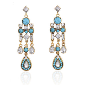 18k Gold Crystal & Turquoise Chandelier Earrings