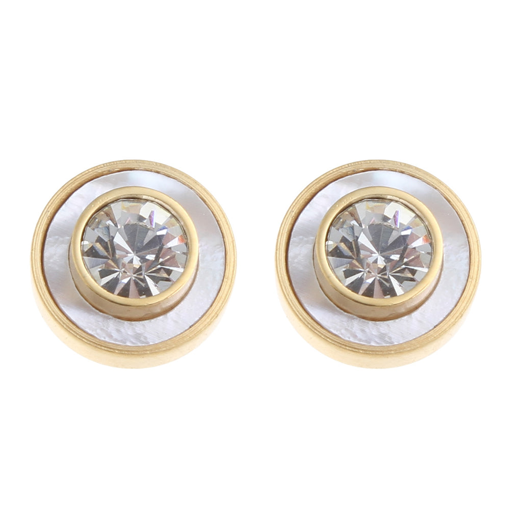 18k Gold Cz & Mother of Pearl Bezel Stud Earrings
