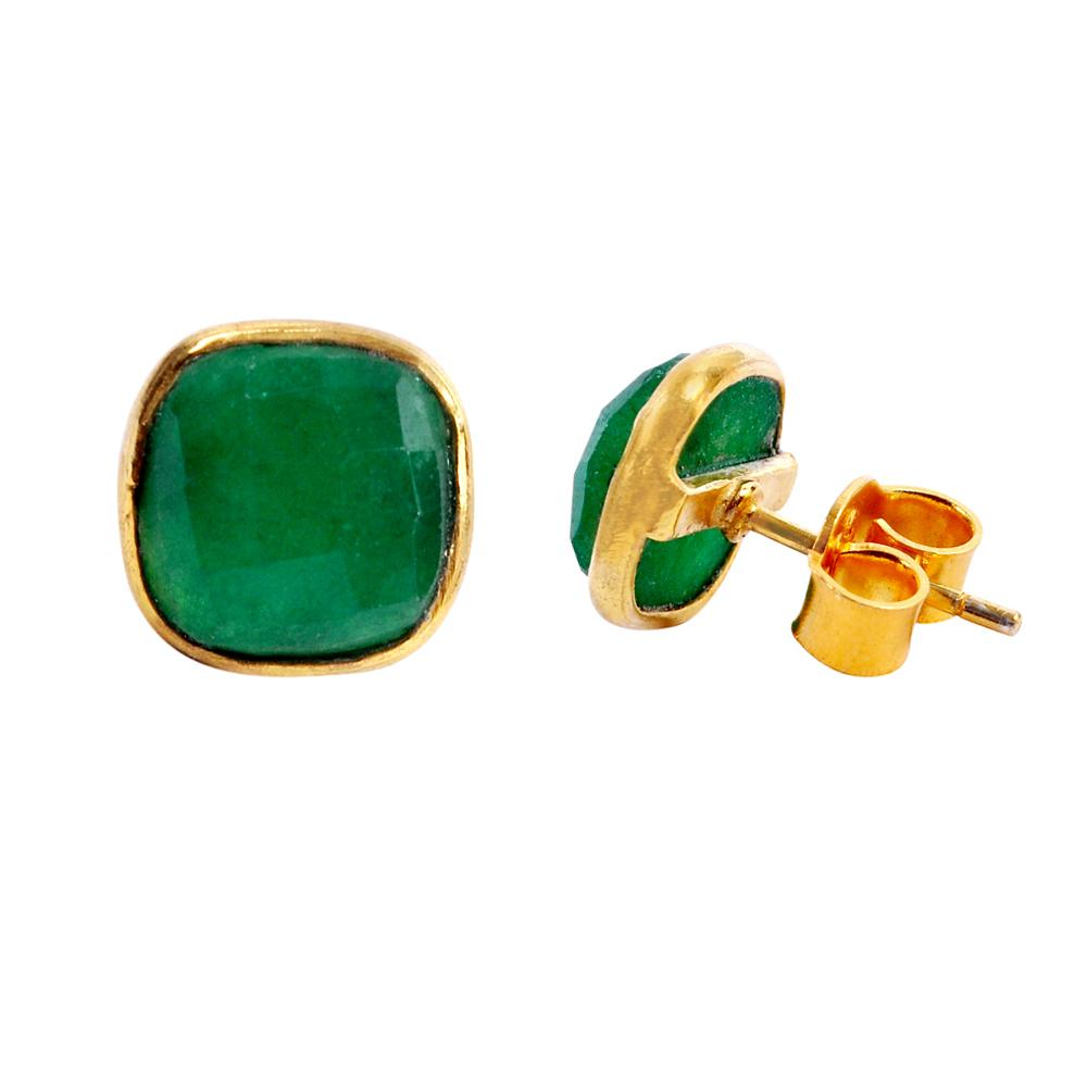 18k Gold Emerald Cushion Shape Studs