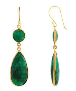 18K Gold Emerald Statement Earrings