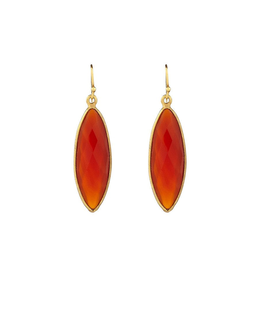 18K Carnelian Marquise Earrings