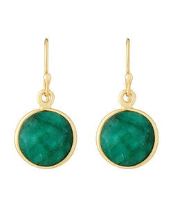 18k Gold Emerald Disc Earrings