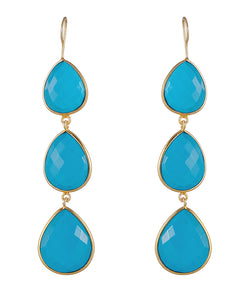 18k Gold Plated Multi Pear Drop Turquoise Earrings