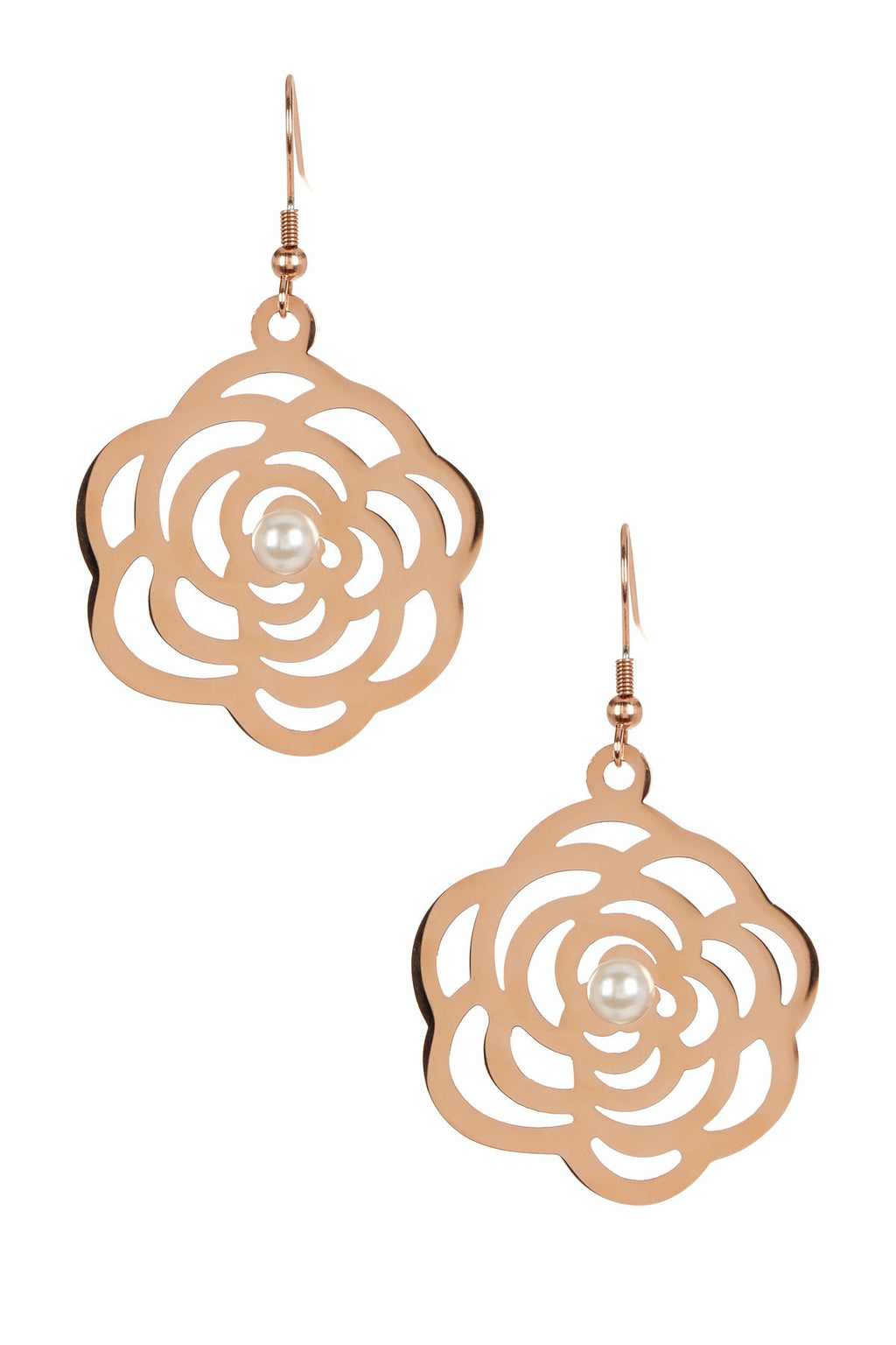 18K Rose Gold Plated Cut-out Rose & Pearl Earrings