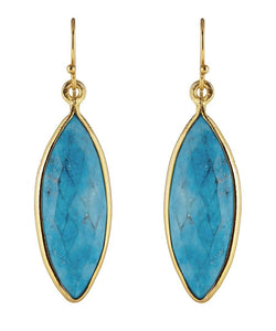 18K Turquoise Marquise Earrings