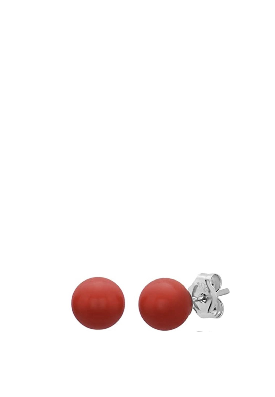 Sterling Silver Red Coral Stud Earrings
