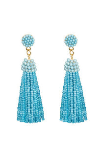 18K Gold Plated Turquoise Bead Tassle Statement Earrings