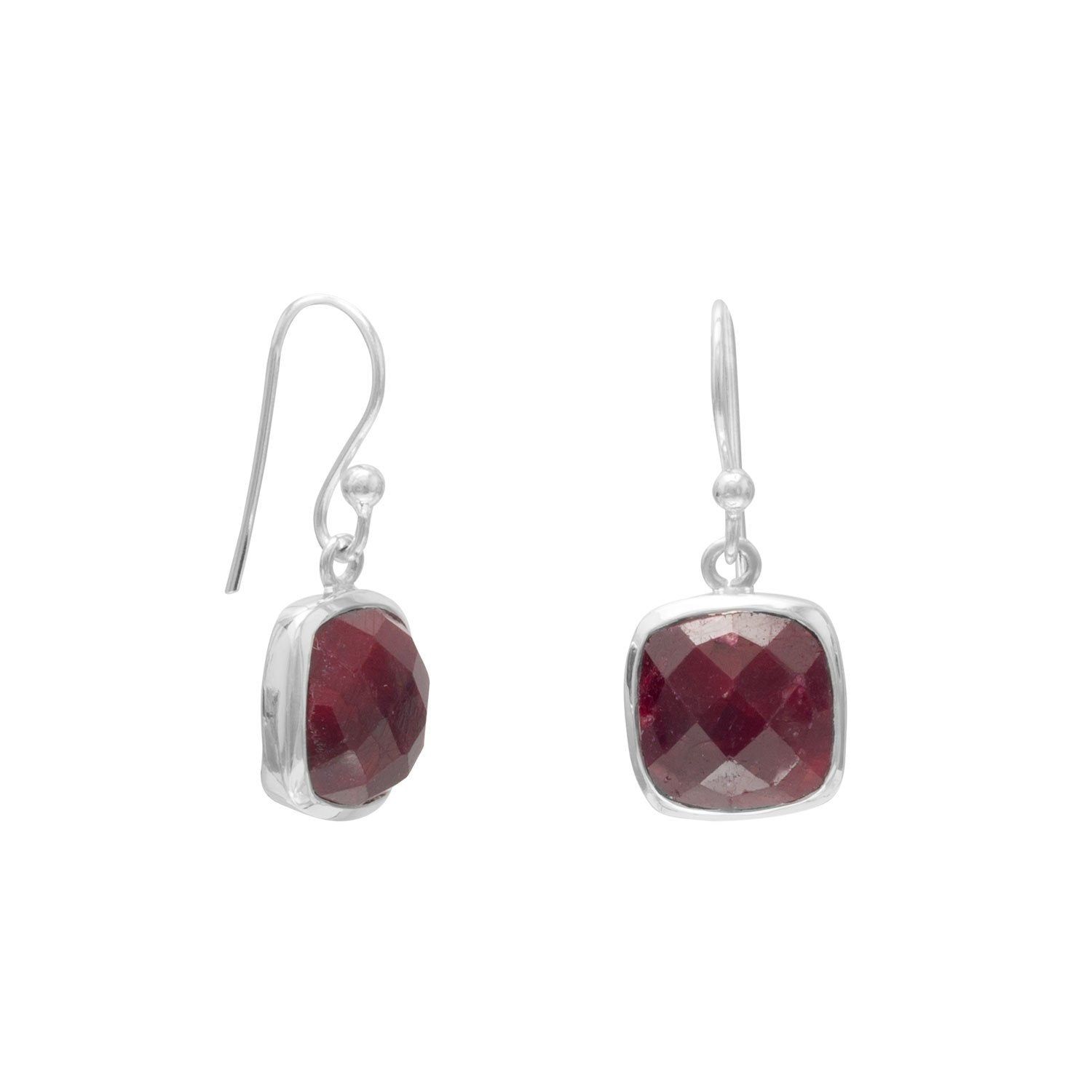 Sterling Silver Ruby Cushion Shape Drop Earrings
