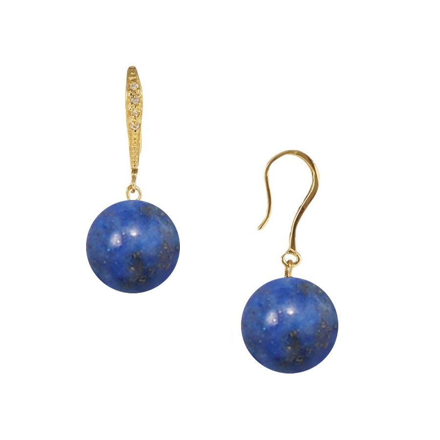 Sterling Silver Lapis Cz Drop Earrings