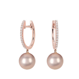 18K Rose Gold Plated Cz & Champagne Pearl Drop Earrings