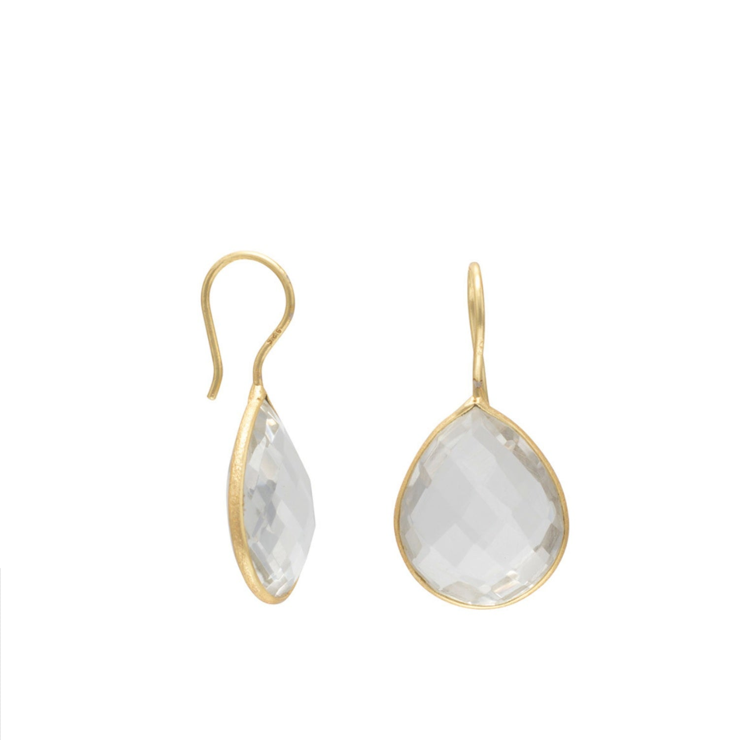 18k Gold Plated Sterling Silver Quartz Pear Drop Earrings