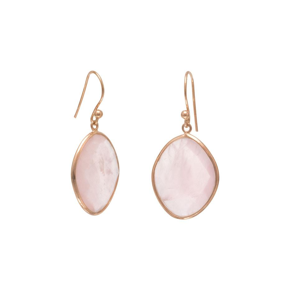 18k Rose Gold Plated Rose Quartz Oval Drop Earrings