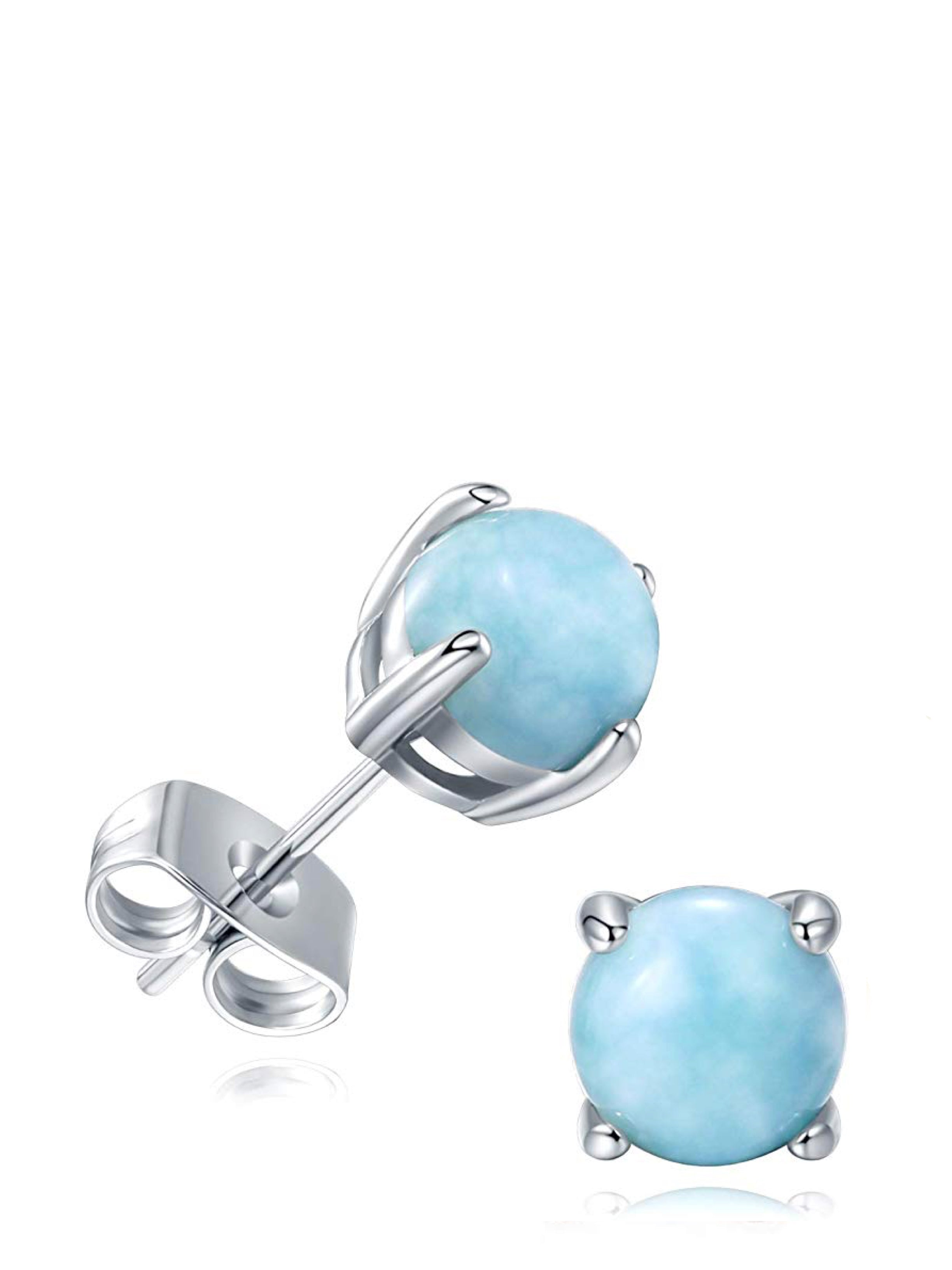 STERLING SILVER LARIMAR GEMSTONE STUD EARRINGS