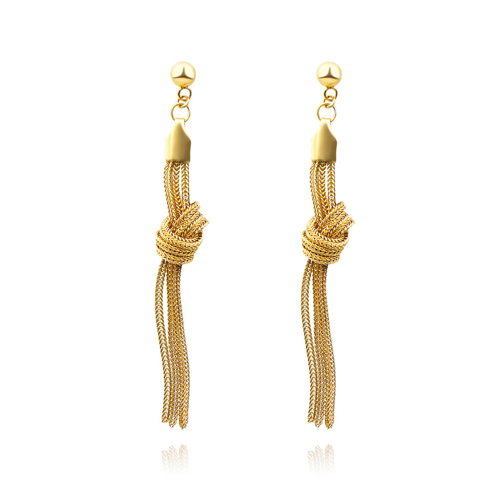 18K Gold Long Multi Chain Knot Earrings