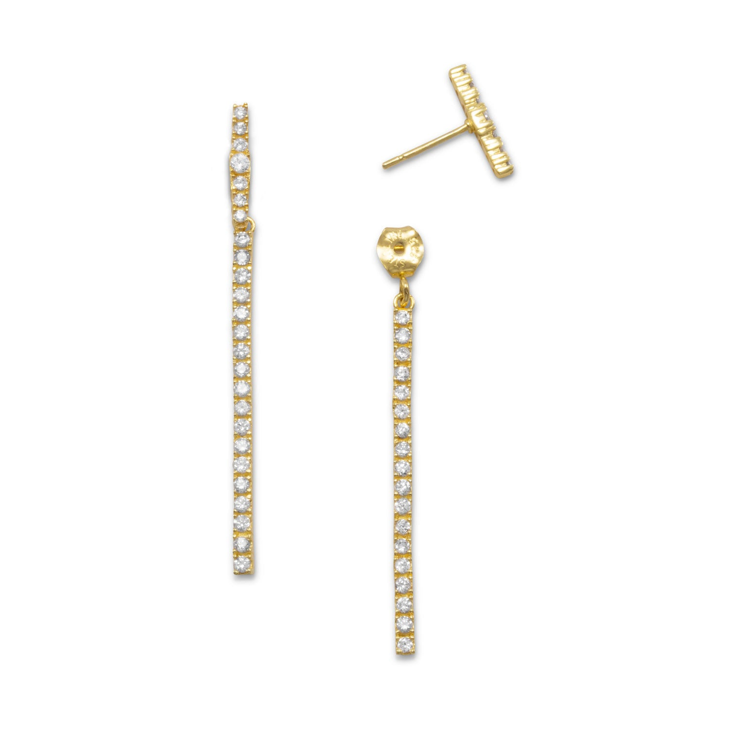 18k Gold Cz Line front back Earrings
