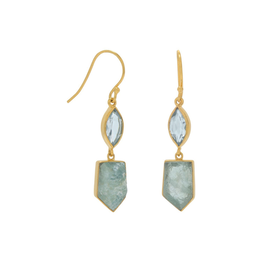 18k Faceted Blue Topaz and Rough Cut Aquamarine Drop Earrings
