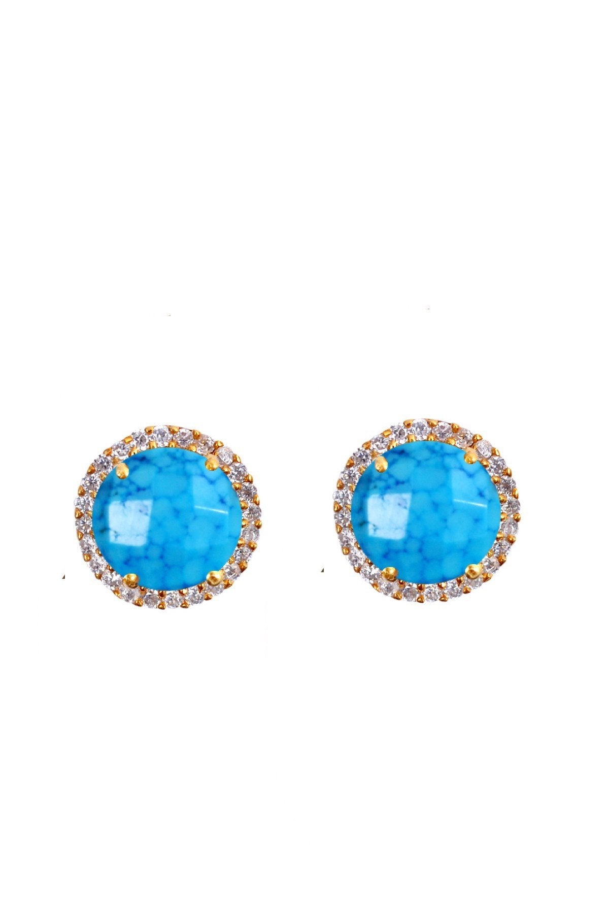 18K Gold Turquoise & Cz Stud Earrings
