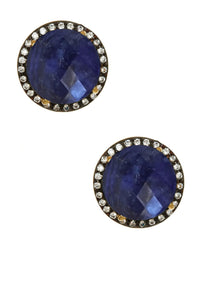 18K Gold Sapphire & Cz Stud Earrings