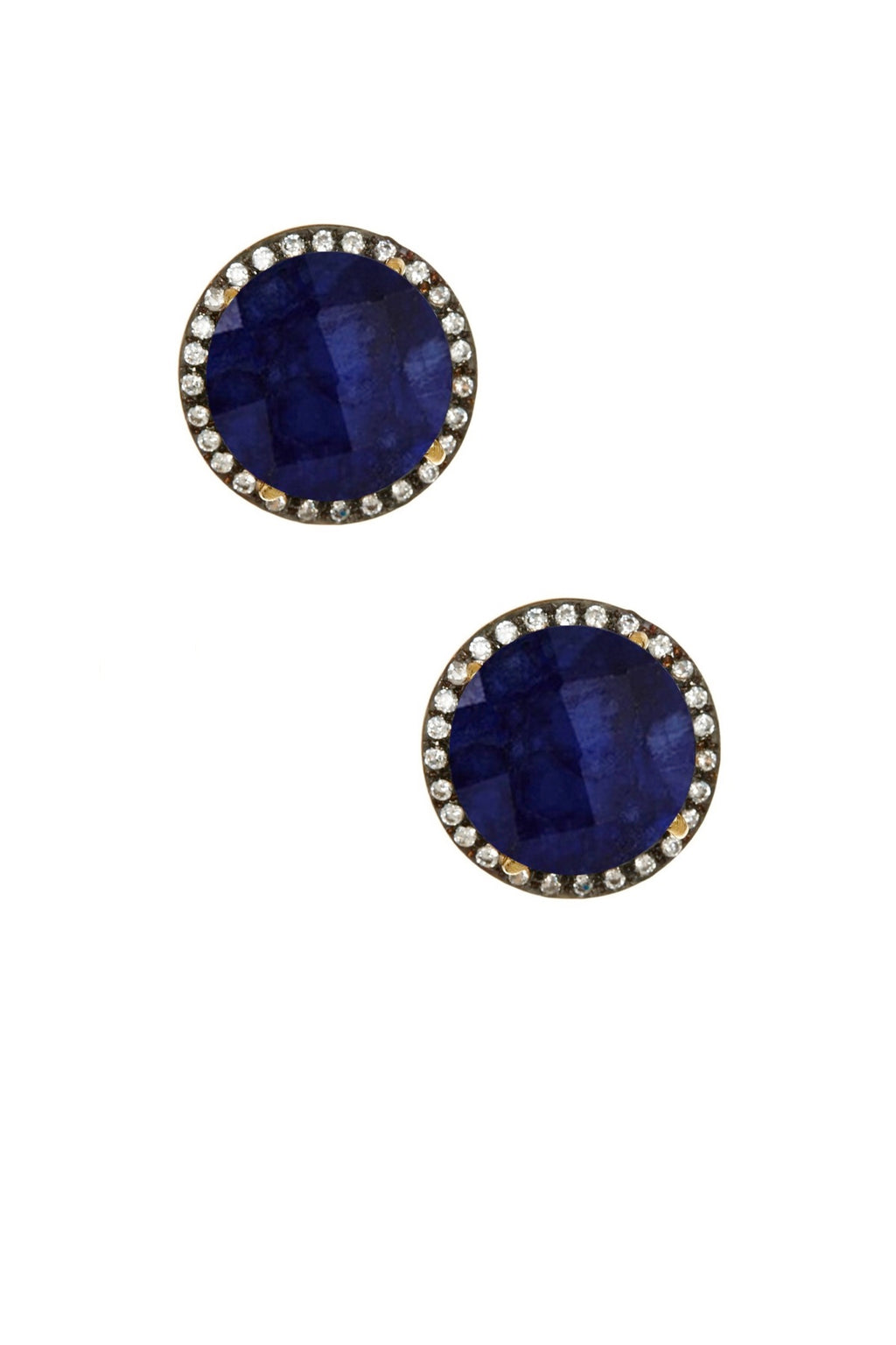 18k Gold Plated Blue Sapphire & Cz Disc Stud Earrings
