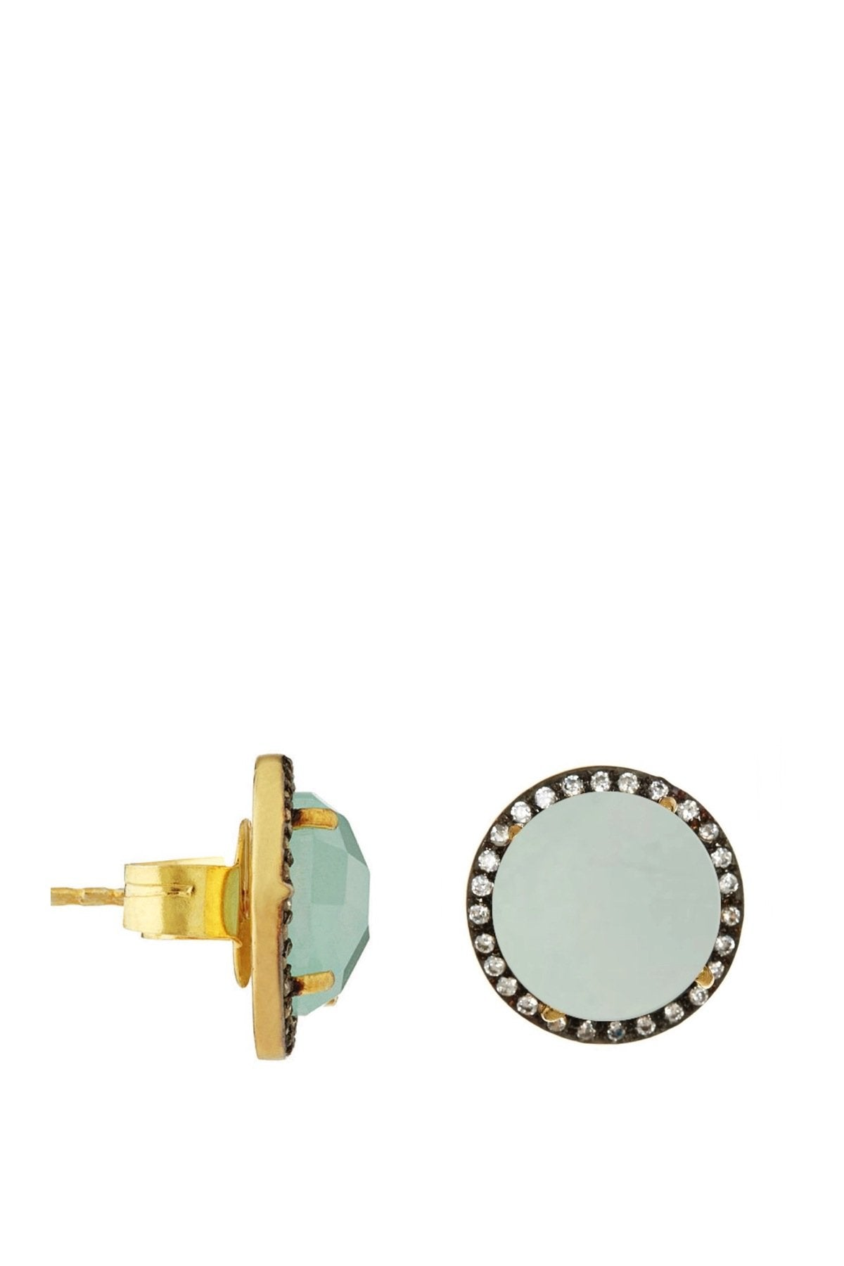 18K Gold Plated Sterling Silver, Sea Green Chalcedony