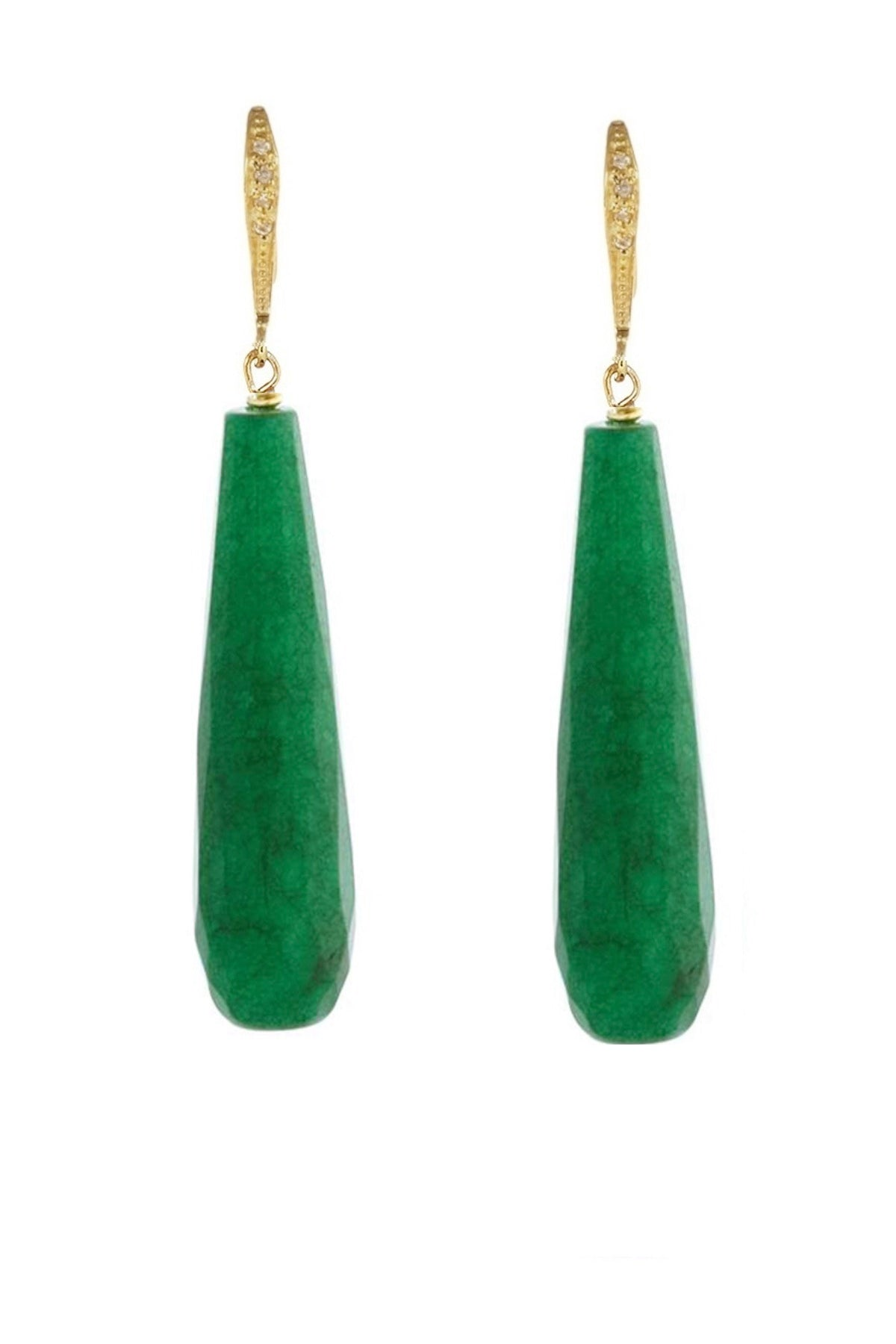 18k Gold Plated Cz & Green Tear Drop Earrings